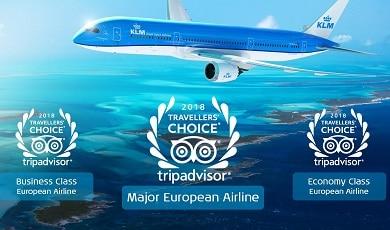 KLM door reizigers wereldwijd beloond met TripAdvisor Travelers' Choice Awards